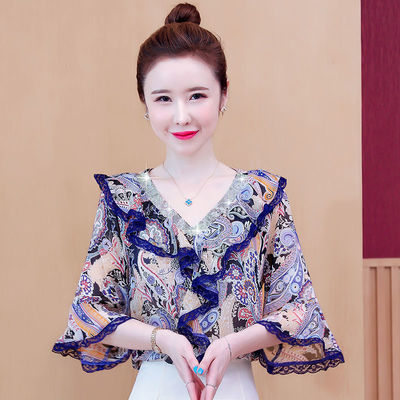 超仙的雪纺衫夏季新款韩版宽松显瘦气质荷叶边V领烫钻碎花衬衫潮