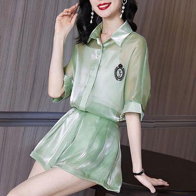 洋气休闲时尚小个子夏装搭配显高短袖衬衫宽松阔腿短裤两件套装女