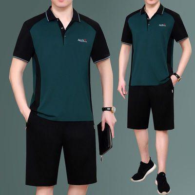 35445/夏季套装中老年男短袖短裤运动服宽松两件套纯棉薄款爸爸跑步夏装