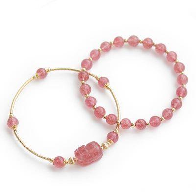 天然草莓晶貔貅手链女粉色水晶招桃花双层手镯套链ins小众设计
