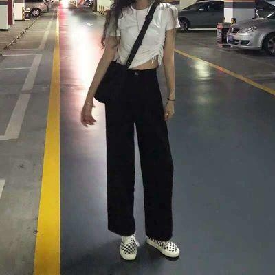 西装裤子女2020夏季薄款新款直筒九分宽松高腰阔腿裤黑色休闲裤子