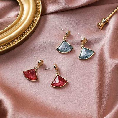 韩版防过敏蓝色冰晶扇形耳环网红爆款耳钉简约唯美耳环猫眼石耳钉