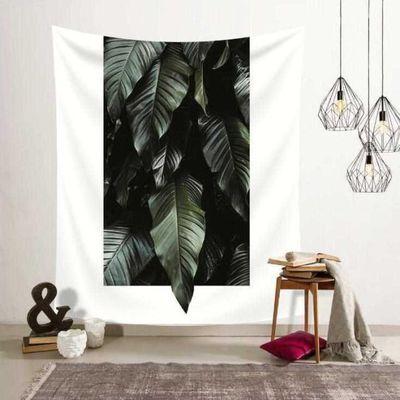 北欧简约绿色植物ins挂布墙面背景装饰画布挂毯壁毯墙壁毯艺术布