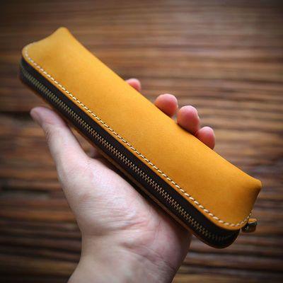 手工复古真皮笔袋创意头层牛皮文具袋疯马皮收纳袋笔盒纯色零钱包
