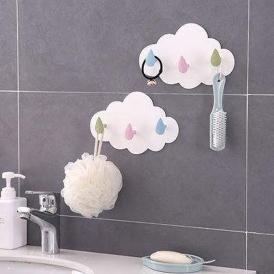 力粘胶多功能挂钩壁挂免钉门后挂衣钩浴室墙壁无痕粘钩卡通云朵强