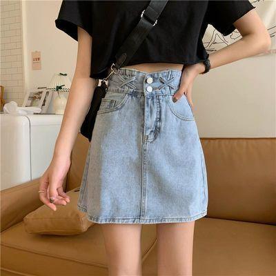 夏季2020新款高腰a字型显瘦设计感包臀牛仔半身裙短裙女裙子ins潮