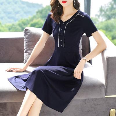 大码女装胖mm优雅气质连衣裙2020新款夏季韩版显瘦遮肉洋气中长裙