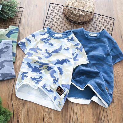 男童迷彩短袖2020夏季新款儿童短袖T恤男孩半袖衫中大童迷彩T恤