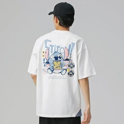 夏季短袖T恤男潮牌个性时尚卡通印花宽松休闲体恤衫圆领半袖短tee