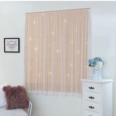 (免打孔)韩式双层遮光镂空星星公主粉色女生出租房间成品窗帘定制