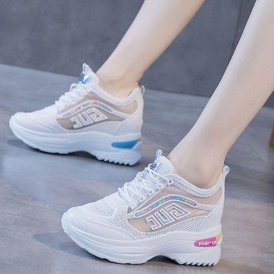 网面内增高小白鞋女2020夏季新款百搭透气网鞋厚底运动休闲老爹鞋