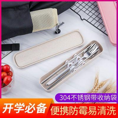 304不锈钢韩式可爱筷子叉子勺子餐具套装学生餐具收纳盒三件套