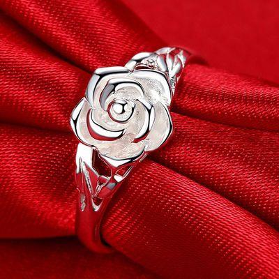 银戒指S990纯银玫瑰花戒指女个性韩版时尚简约活口足银戒指食指环