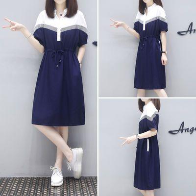 女士时尚夏季大码连衣裙薄款气质中长款女装胖mm新款韩版遮肚显瘦