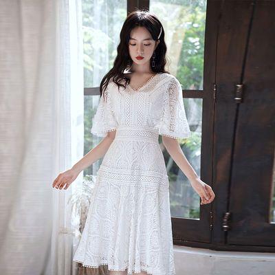 白色小个子洋装晚礼服女2020新款平时可穿短款名媛生日蕾丝连衣裙