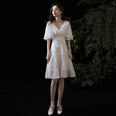 白色小晚礼服裙子平时可穿2020新款宴会名媛气质连衣裙女蕾丝短款
