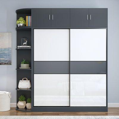 衣柜推拉门简约现代经济型组装移门衣柜实木颗粒板2门成人大衣橱
