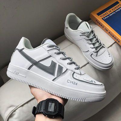 白鞋子内增高板鞋男鞋空军一号aj平板鞋学生反光潮鞋韩版休闲鞋男