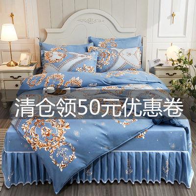 床裙款100%加厚纯磨毛四件套床上用品非全棉纯棉被套被罩双人床单