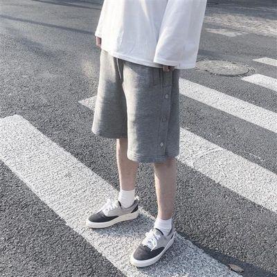 KREATE官方 20SS 侧边排扣logo印花国潮牌五分宽松基础短裤卫裤男