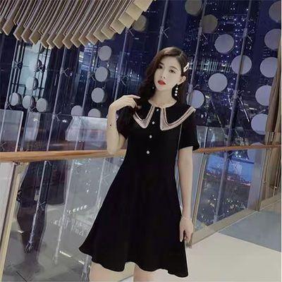 连衣裙2020新款 甜美减龄娃娃双层领收腰显瘦桔梗黑色连衣裙女夏