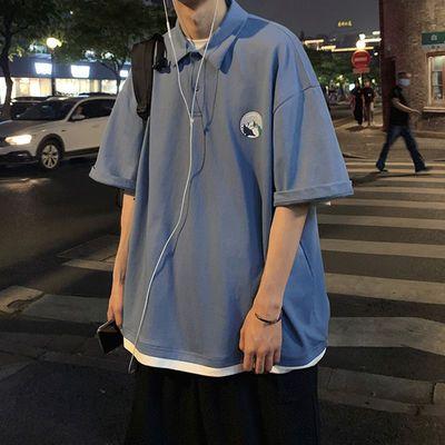 港风假两件复古拼色POLO衫T恤潮男翻领短袖男tee韩版个性青年学生