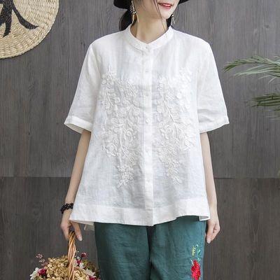 15746/文艺100%纯棉衬衣立领上衣刺绣宽松大码短袖衬衫女仿亚麻小衫女潮