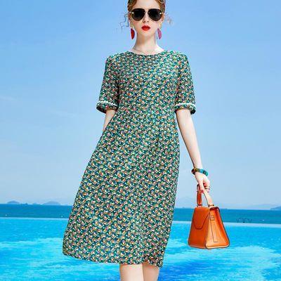 仿真丝仿桑蚕丝连衣裙2020夏季女装新款杭州大码宽松气质碎花裙子