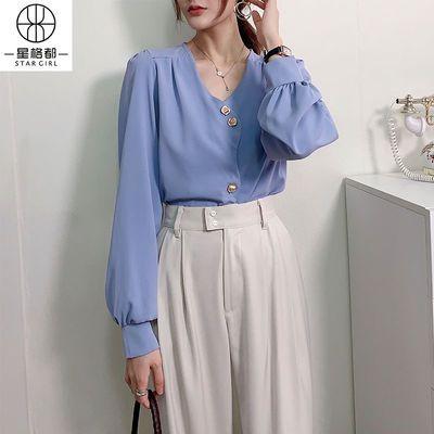 2020秋款新款衬衫女长袖特色剪裁精致纽扣复古气质优雅上衣淑女范