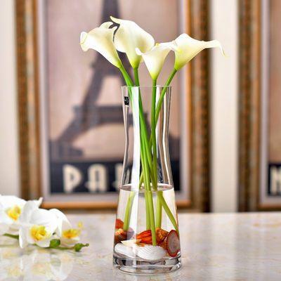 欧式简约玻璃花瓶创意透明人造水晶插花玻璃餐桌客厅装饰花干花器