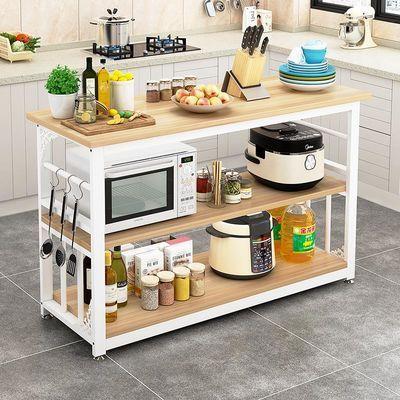 厨房置物架切菜桌家用收纳架落地多层架微波炉架储物操作台面定制
