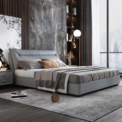 北欧真皮床现代简约轻奢皮床 主卧1.8米实木双人床1.5m婚床高箱床