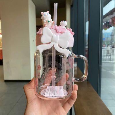 现货星巴克2020樱花600ml粉色赏樱猫咪蝴蝶结梅森玻璃吸管杯子