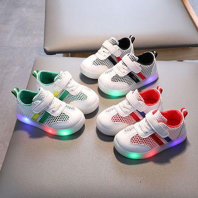 夏季儿童网面透气板鞋亮灯鞋子男女宝宝童鞋单鞋小白鞋春季运动鞋