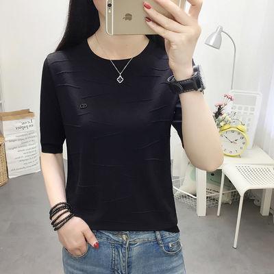 宽松显瘦【90-200斤】冰丝短袖T恤女夏季新款大码针织衫刺绣上