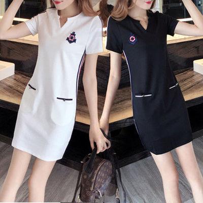 胖妹妹夏季连衣裙女2020新款大码女装中长款宽松显瘦短袖休闲裙子