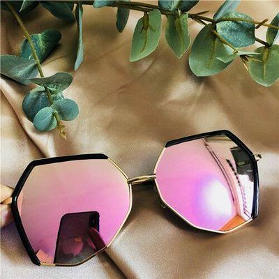 多边形偏光太阳镜女韩版复古潮原宿风时尚墨镜网红款眼镜防紫外线
