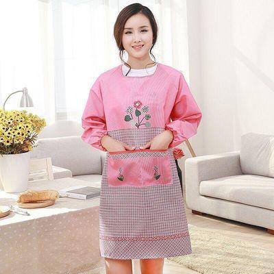 一体式长袖防水厨房成人反穿罩衣可爱卡通带袖花朵围裙