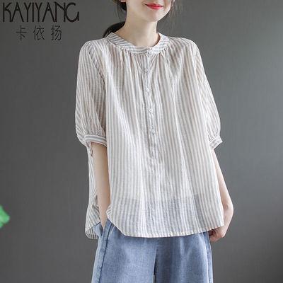 好质量 文艺复古圆领条纹t恤女2020夏季新款宽松百搭五分袖上衣潮