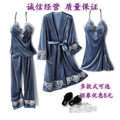 金丝绒睡衣女秋冬带胸垫长袖四件套性感吊带睡裙长睡袍保暖三件套