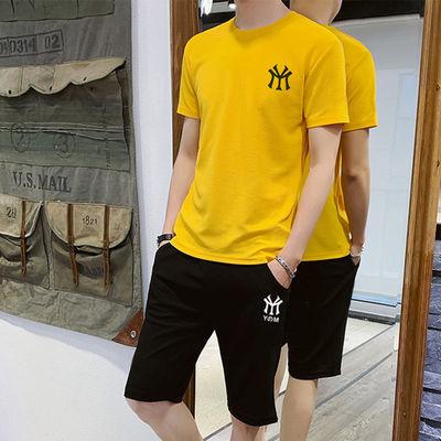 恒源祥运动套装男休闲夏季夏天运动服男装短袖短裤青少年中学生初