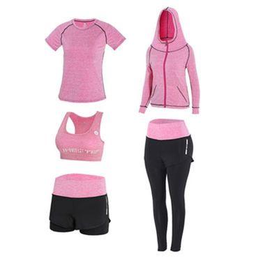 春夏瑜伽服套装短袖短裤运动健身套装服女三四五件套跑步速干衣女
