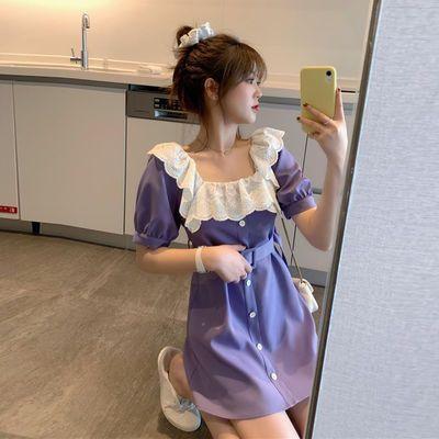 2020夏季新款宽松显瘦气质法式蕾丝方领紫色短袖连衣裙短裙小个子
