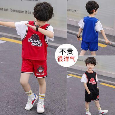 儿童夏装男童短袖套装2020新款儿童夏季篮球服韩版中小童假两件潮