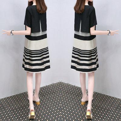 2020夏装新款连衣裙女中长款条纹韩版显瘦宽松显瘦a字裙子胖妹妹