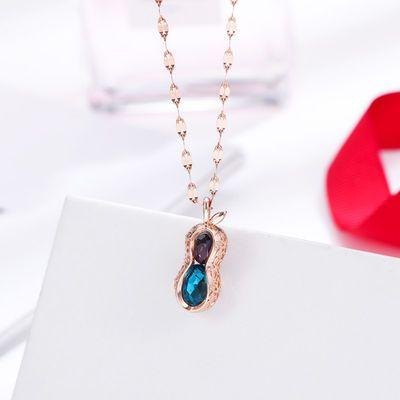 日韩个性时尚钛钢花生项链 抖音同款幸运蓝宝石吊坠 轻奢锁骨链