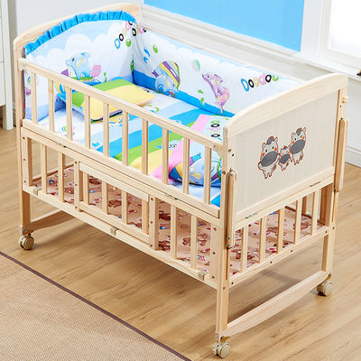 婴儿床推车实木双层儿童床加宽拼接床公主床带护栏宝宝床摇篮床