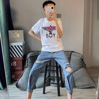 快手网红同款BOY老鹰印花潮流短袖男上衣韩版T恤夏季百搭情侣