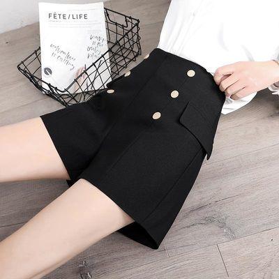 西装短裤高腰裤子女2020夏新款韩版显瘦百搭时尚宽松雪纺阔腿裤