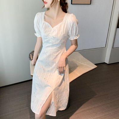 韩版复古连衣裙女2020夏季开叉新款气质收腰甜美白色蕾丝中长裙子